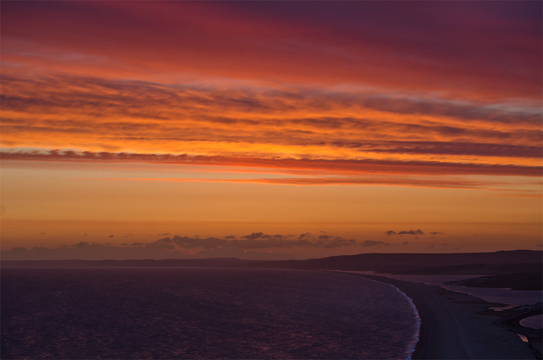 Chesil Beach sunset.