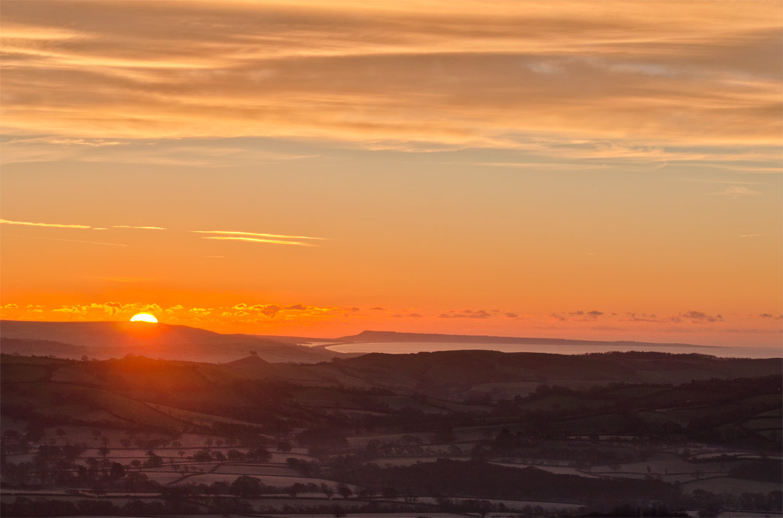 Sunrise over the Marshwood Vale.