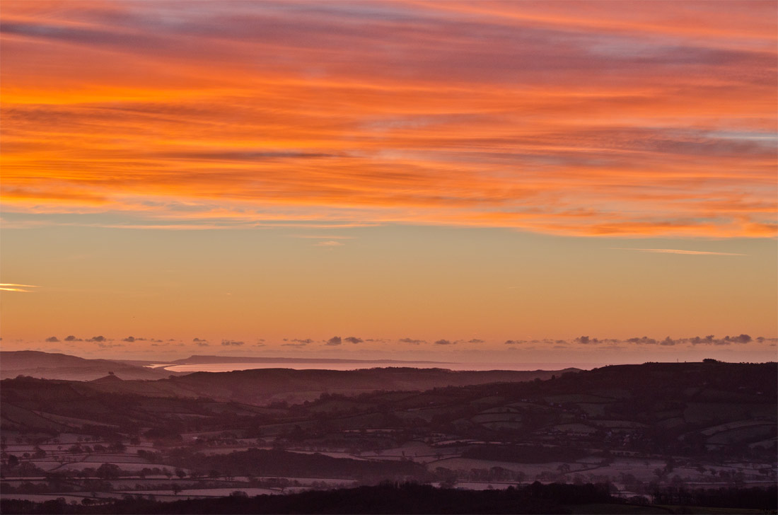 A bright sunrise over the Marshwood Vale.