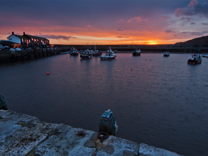 Sunset from The Cobb in Lyme Regis.