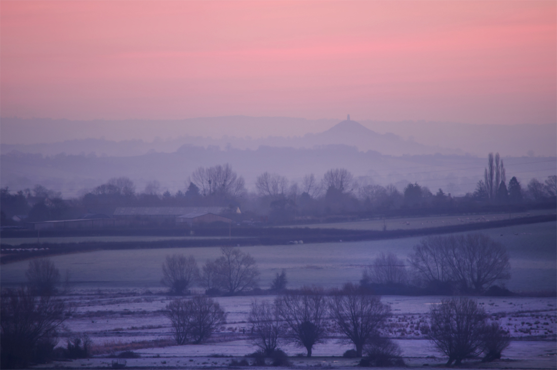 Glastonbury Tor from Burrow Mump on a cold February Dawn.